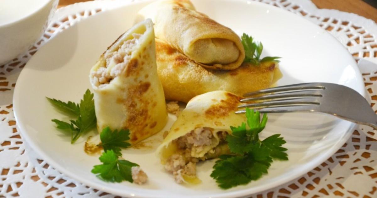 Рецепт блинчиков с очень вкусным мясным фаршем фото