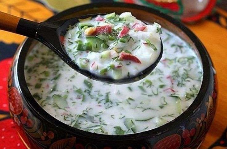 Рецепт классической окрошки на кефире фото