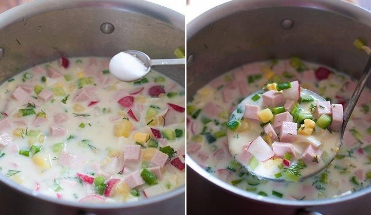 Рецепт окрошки на кефире с колбасой фото