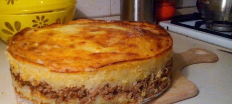 Картофельная запеканка с мясом в духовке фото