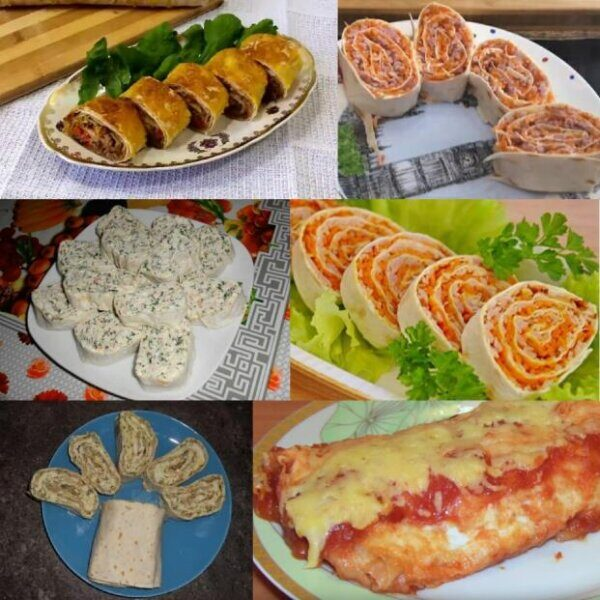 Рулеты из лаваша с разными начинками простые и вкусные рецепты на праздничный стол