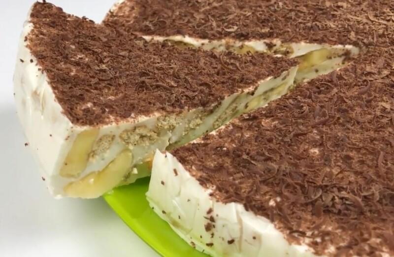 Торт без выпечки из печенья, сметаны и бананов с желатином. Самый вкусный банановый торт без выпечки с печеньем