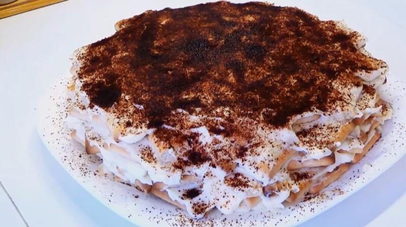 Торт из печенья без выпечки с заварным кремом — недорогой и вкусный домашний рецепт на скорую руку