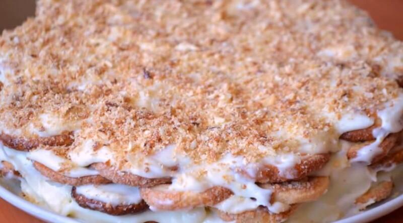 Вкусный пошаговый рецепт торта Наполеон из печенья ушки без выпечки