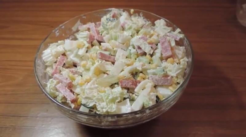 Самый вкусный рецепт салата с пекинской капустой и ветчиной