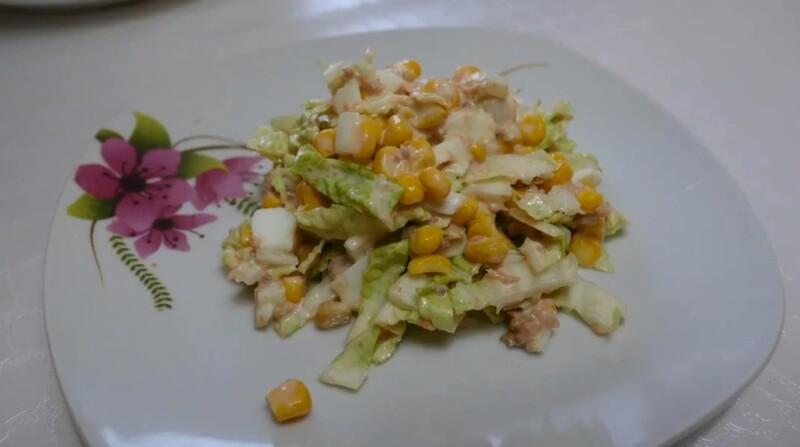 Очень красивый салат с консервированным тунцом и пекинской капустой