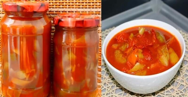 Простой рецепт лечо на зиму из перца, помидоров и яблок