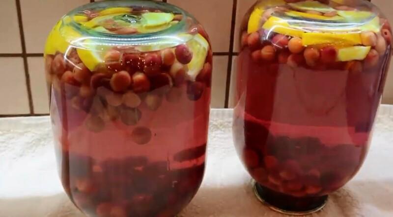 Самый простой вишневый компот с апельсином на зиму в 3-х литровые банки (пошаговый фото-рецепт)