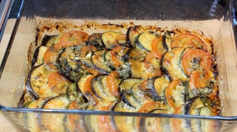 Овощная запеканка с кабачками, баклажанами и помидорами
