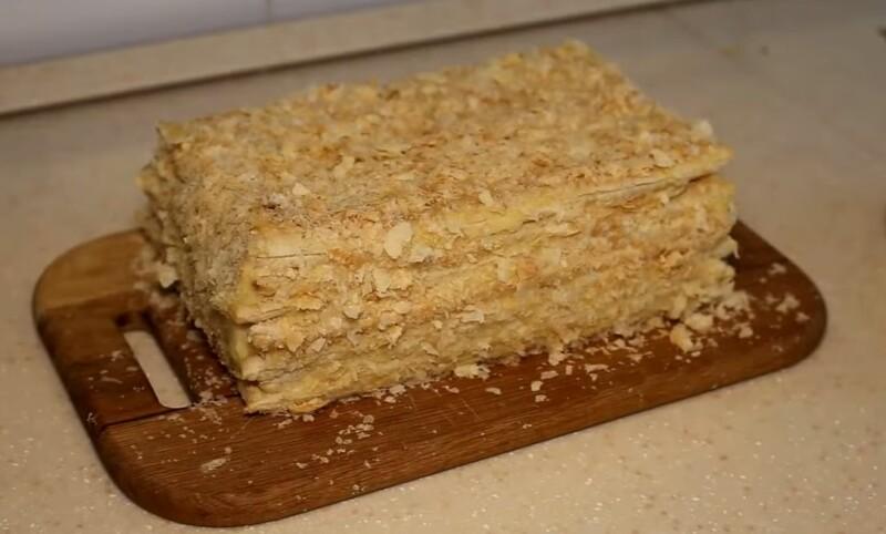 Торт Наполеон из готового слоеного теста с заварным кремом легкий и быстрый рецепт