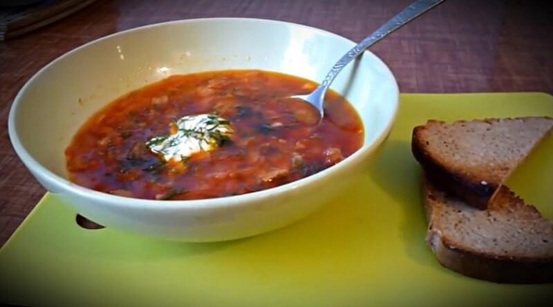 Украинский борщ со старым салом (шкварками) и чесноком — настоящий рецепт