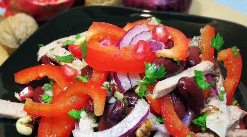 Самый вкусный салат «Тбилиси» с красной фасолью и куриной грудкой