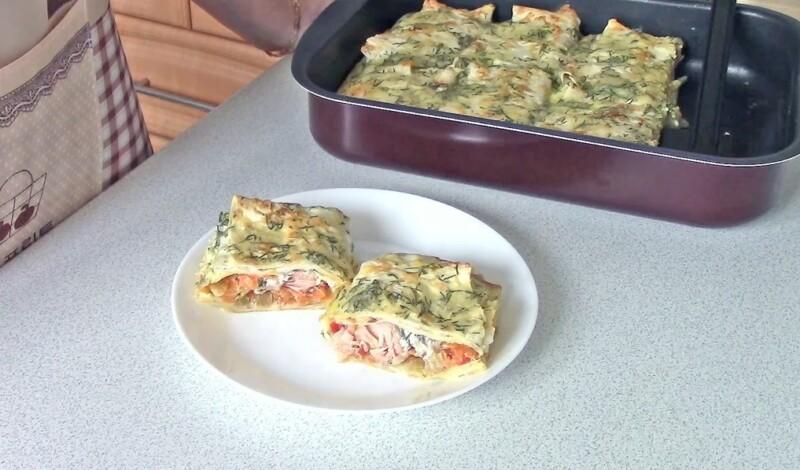 Горбуша в лаваше, запеченная в духовке — пошаговый рецепт