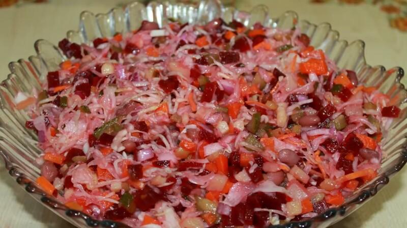 Как приготовить винегрет с фасолью и квашеной капустой