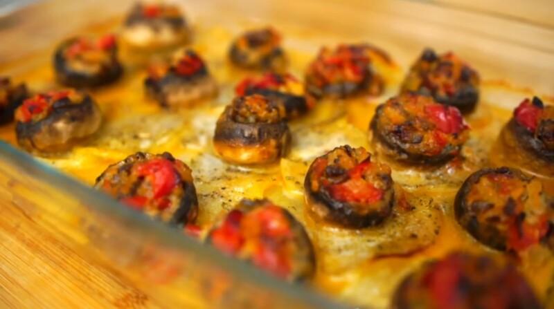 Как фаршировать шампиньоны овощами для запекания духовке — рецепт с перцем болгарским