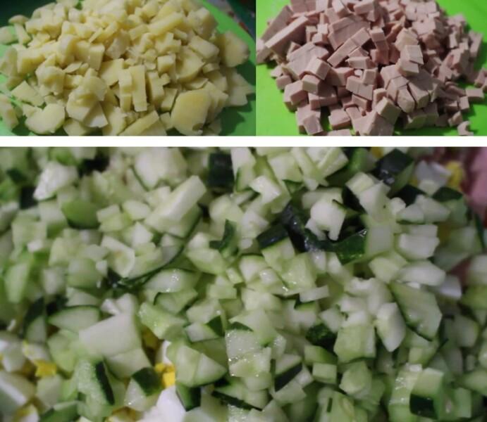 нарезаем колбасу+картофель+огурцы