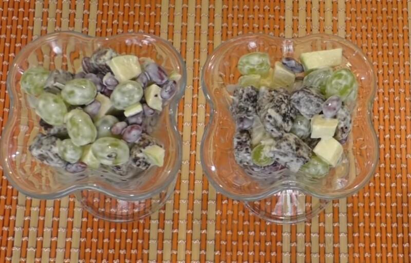 Салат Банкет с виноградом, фасолью, яблоками и чесноком
