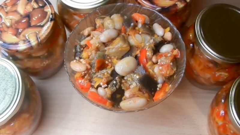 Салат из баклажанов с фасолью на зиму — рецепт пальчики оближешь