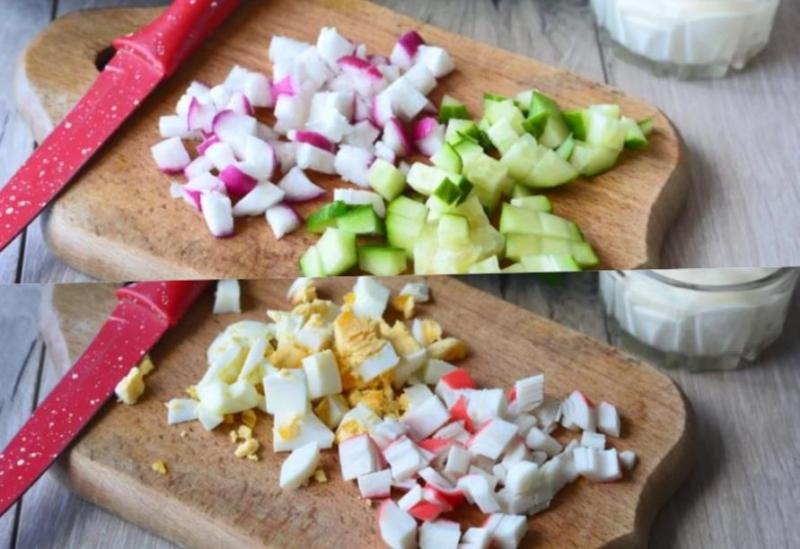 нарезаем овощи и сыр